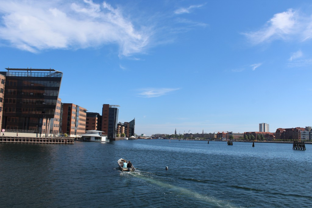 "View to Copenhagen Inner Harbour at Kalvebod Brygge at left, ""Kalvebod Wave"", bridge Langebro and islands brygge at right. Phoot in direction east 26´5. august 2016 by erik K Abrahamsen."