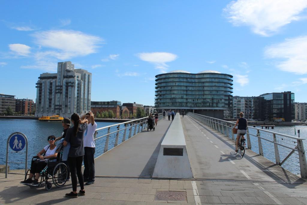 "Bike-, walk and run bridge ""Bryggebroen passing Copenhagen Inner Harbo"