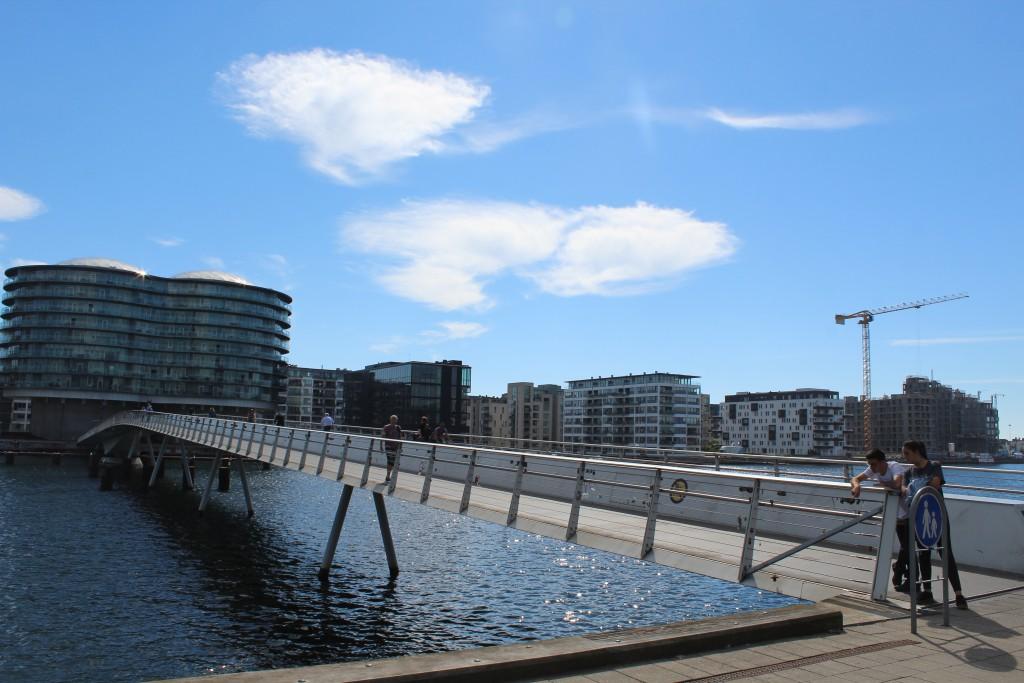 """Bike-, walk and run bridge """"Bryggebroen"""" passing Copenhagen Innder Harbo"""
