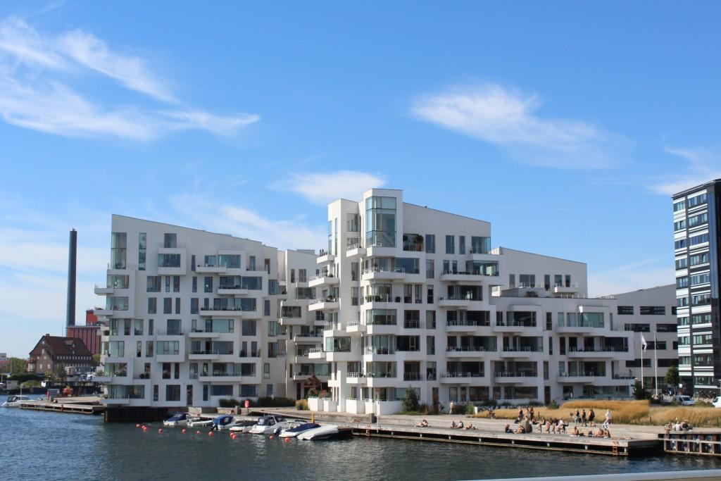 """Private residencies """"Havneholmen"""" on Havneholmen on north side of Copenhagen Unner Harbour. Photo from top af bike-, walk and r"""