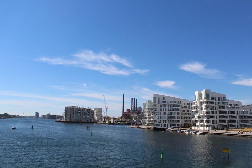 "View from top of bike-, walk and run bridge ""Bryggebroen"" in direction w"