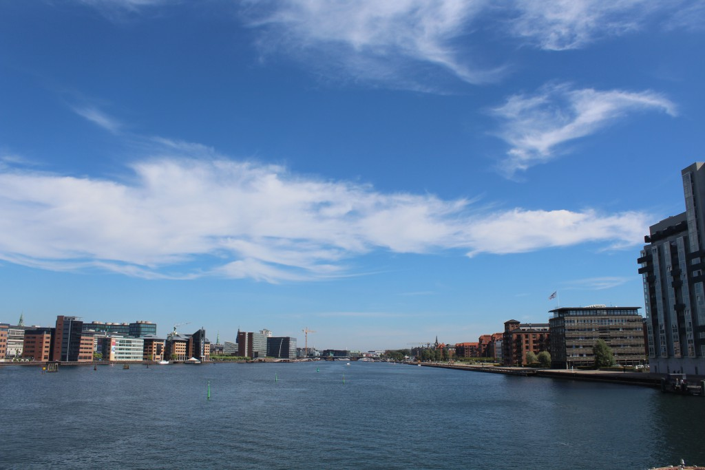 """View from top of """"Bryggebroen2 in direction east to Copenhage Inner Harb"""