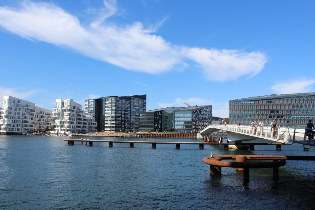 """Vue to bike-, walk and run bridge """"Bryggebroen"""" passing C"""