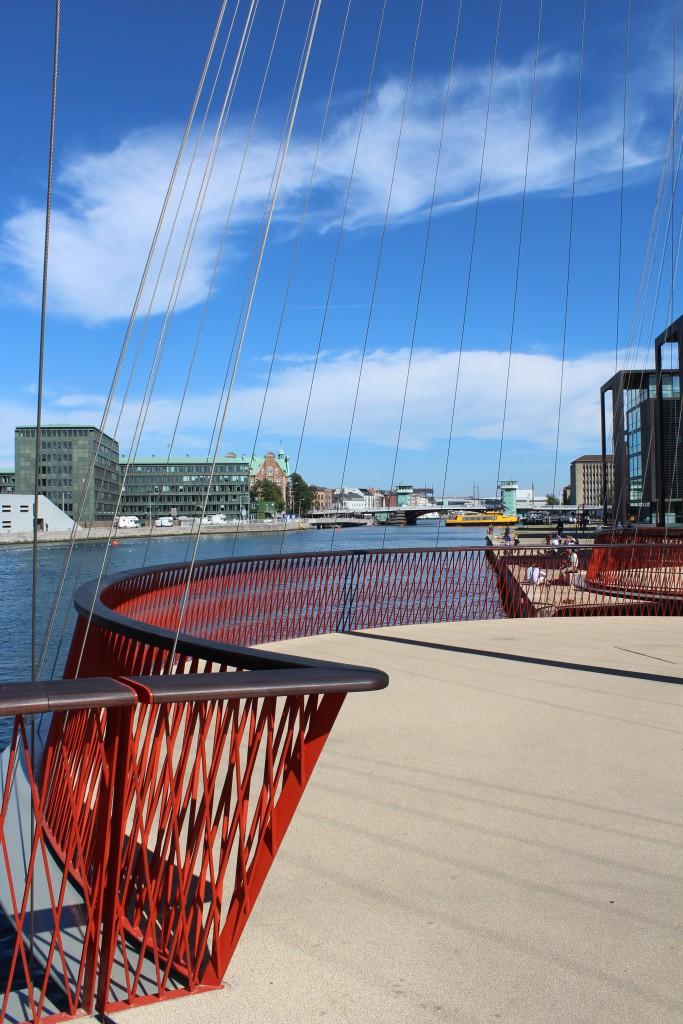 Cirkelbroen - Circle bridge open 2015. Vue in direction east on s Chrisyianshavn on south side of Copenhagen Unnder Harbour