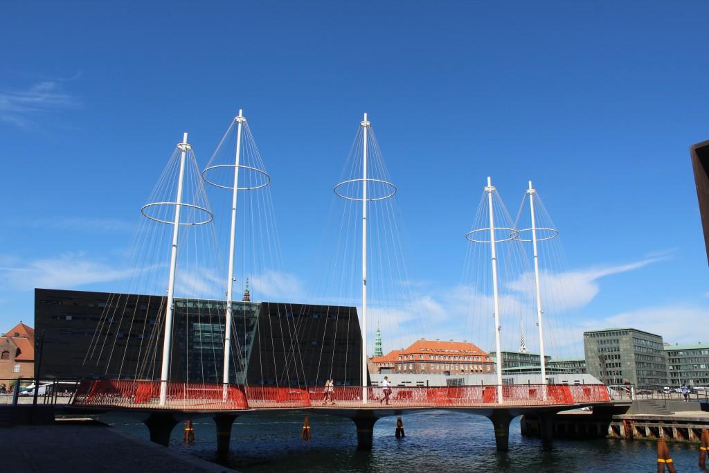 Cirkelbroen open 2015 - Circle Bridge by artist Olafur Eliassen passing Christianshavn Canal go so