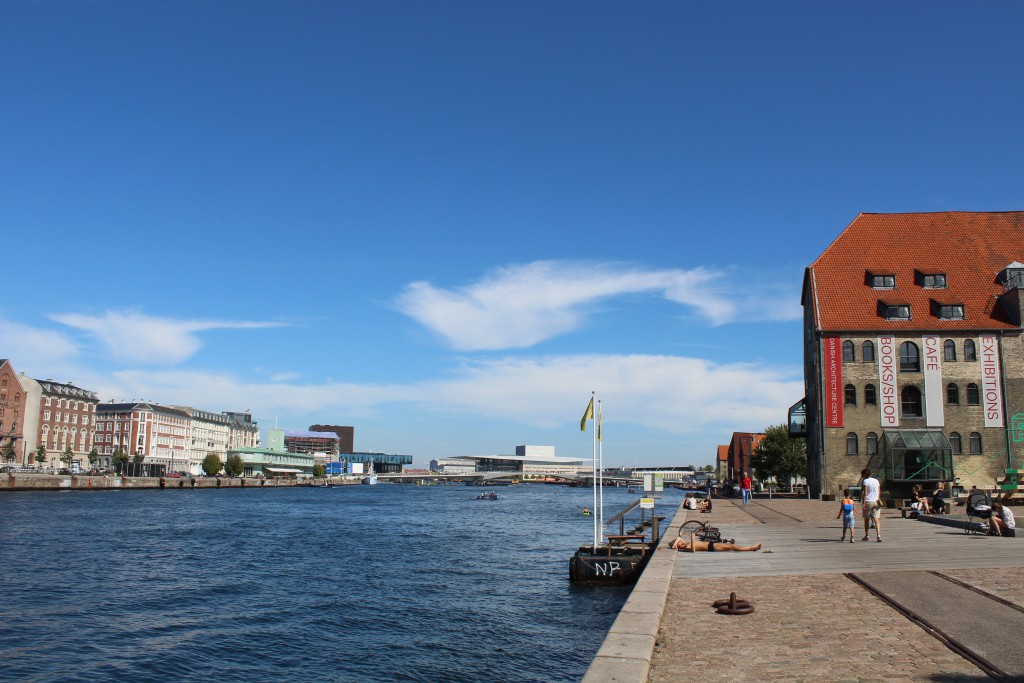 Copenhagen Inner Harbour. At right Royal Navy Old Dock 1737-1872, H. C. Tcherning Store House built 1882 and today Danish Archtecture Center DAC. Photo in direction