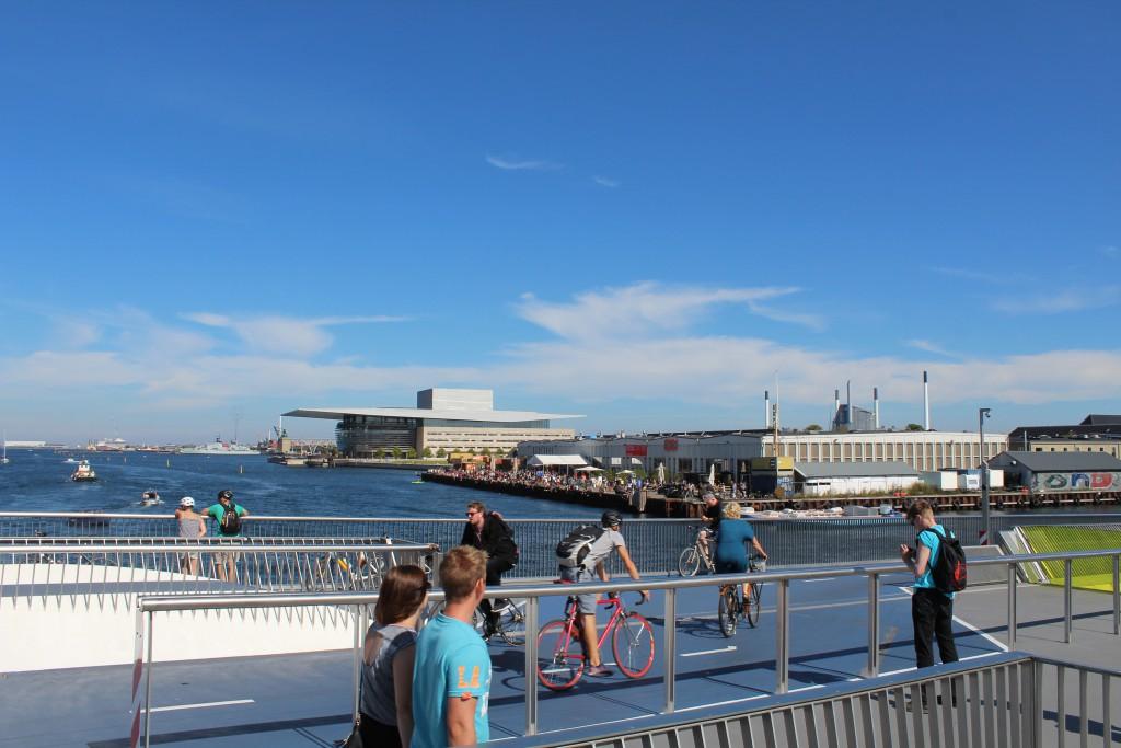 """View from top of """"Indergavnsbroen"""" to Copenhagen Inner harbour. Photo in direction east 25. august 2016 by erik K Abrahamsen."""