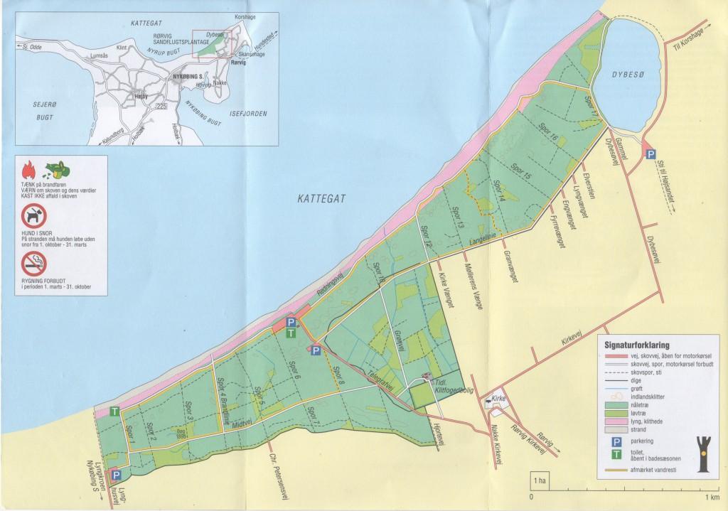"""Rørvig Sand Drift Plantation. Map from folder """"Rørvig Sandflugtsplantage"""" published by Ministery of Environment, Miljøministeriet, Naturstyrelsen."""