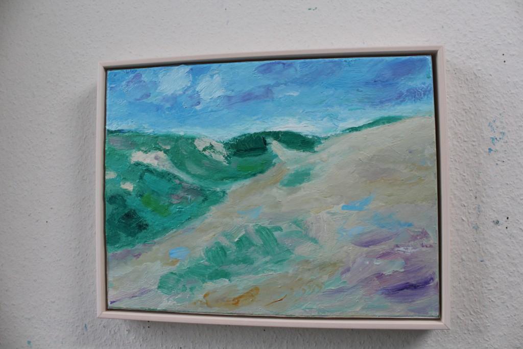 """Malerie af Per Baagøe: """"I klitterne"""", 30 x 40 cm, olie på lærred. Foto den 16. november 2016 af Erik K Abrahamsen."""