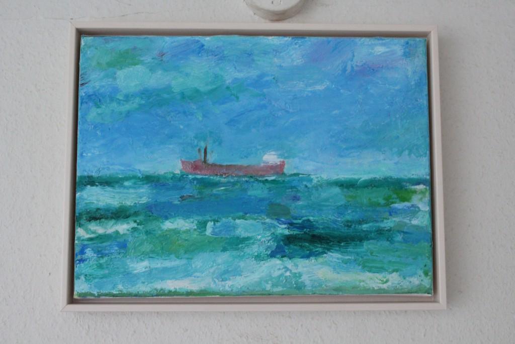 """Per Baagøe: """"Fragtskai ved Amakger Strand, 30 x 40 cm, olie på lærred."""