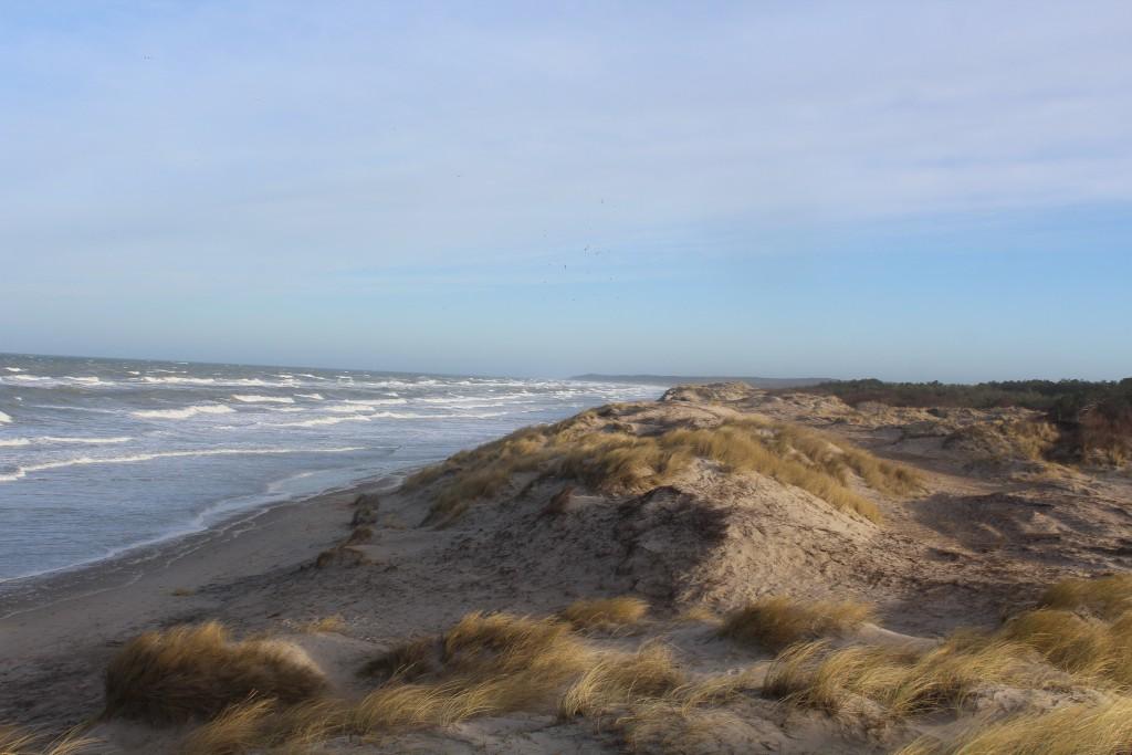 Liseleje Strand. Udsigt mod øst mod melby Overdrev, Asserbo Plantage, Tisvilde Hegn og Tisvildeleje helt ude i horisonten. Foto den 27. december 2016 af Erik K Abrahamsen.