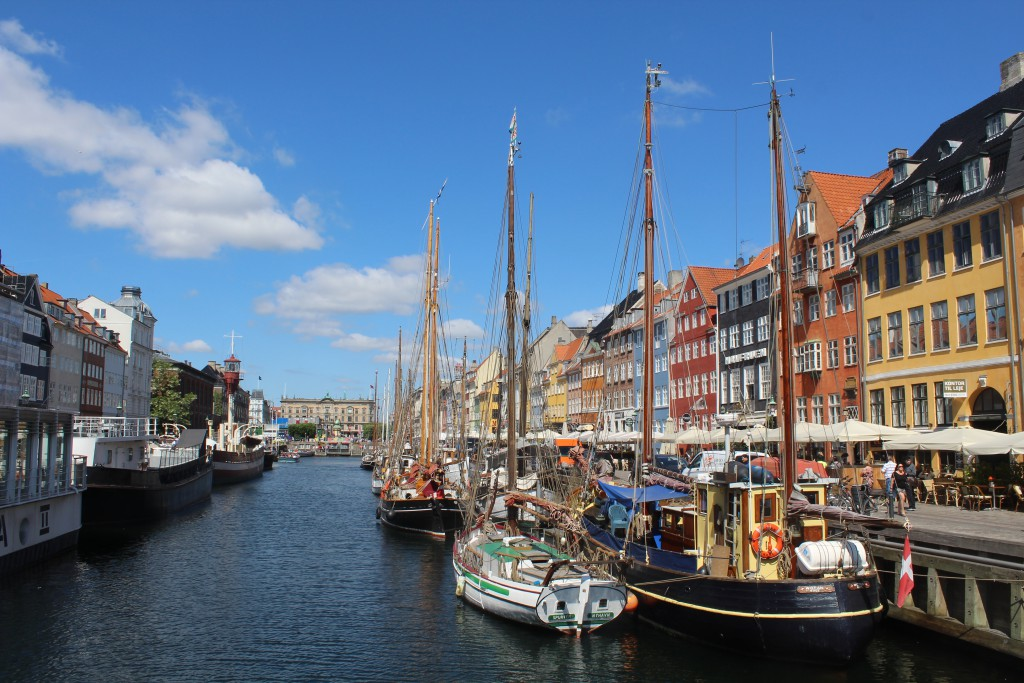 Nyhavn Canal - view in direction north to Kings New Square, Kongens Nytorv. Photo midday 6. june 2016 by Erik K Abrahamsen.