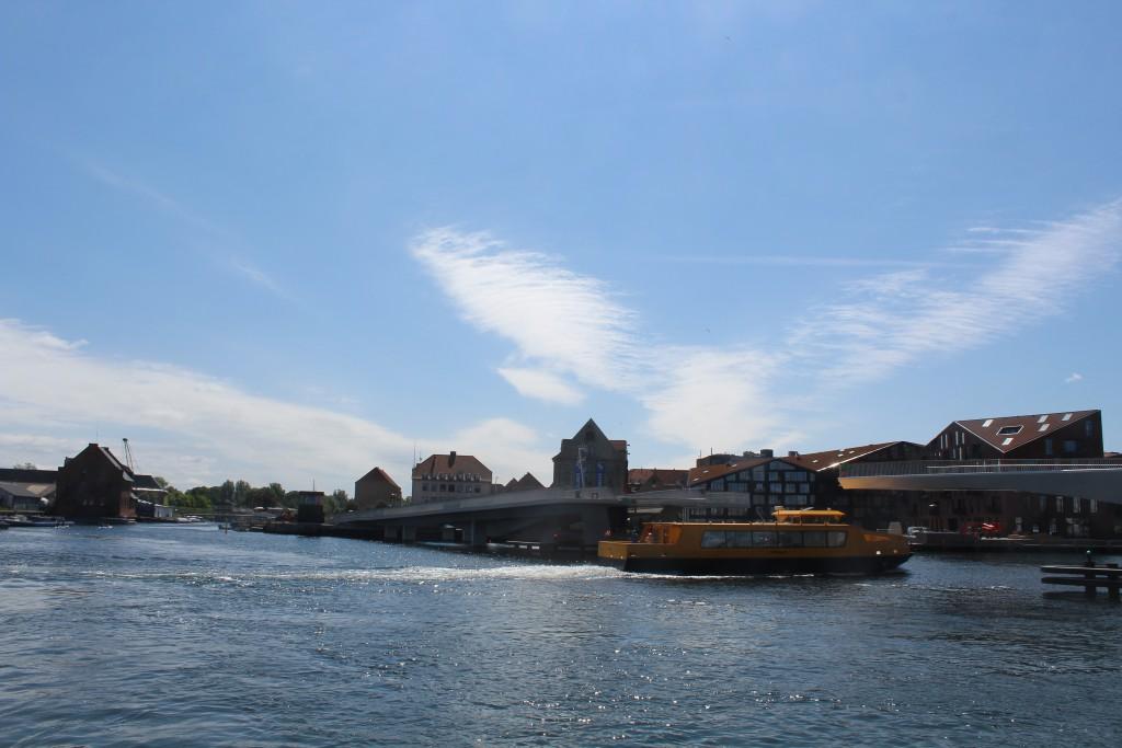 "Copenhagen Inner Harbour - view to Chrostuianshavn to new walk. and bike bridge ""Trangravsbroen left background and at right new walk- and bike bridge"