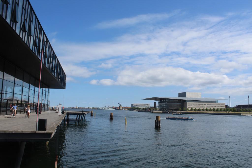 Copopenhagen Inner Harbour. View from newCopenhagen Theatre to Naval Base Holmen and Copenhagen Opera built 2002-04. Photo 6. june 2016 by Erik K Abrahamsen.