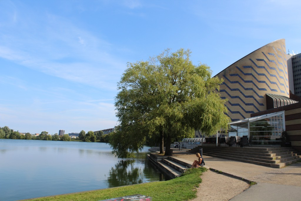 View to Sct. Jørhen Lake , Planetarium and Stare Hospital Rigshospitalet in the distance in Quarter Østerbro.