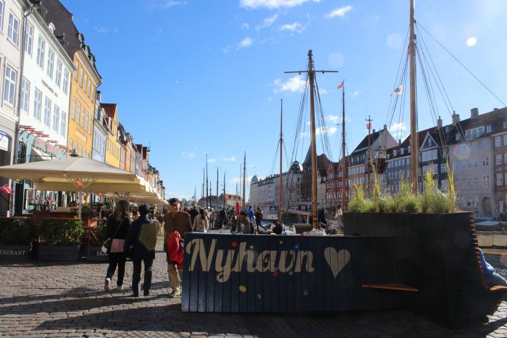 Nyhavn , Copenhagen, Denmark - a cocctete barrior covedred wt
