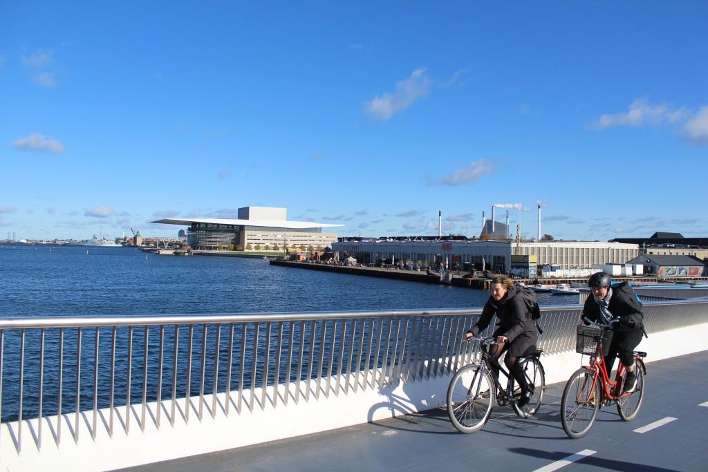 """View from new walk-and bike bridge """"Inderhavnsbroen"""" to Copemhagen Inner Harbour. Photo in direction east 9. october 2+17 by Erik K Abrahamsen."""