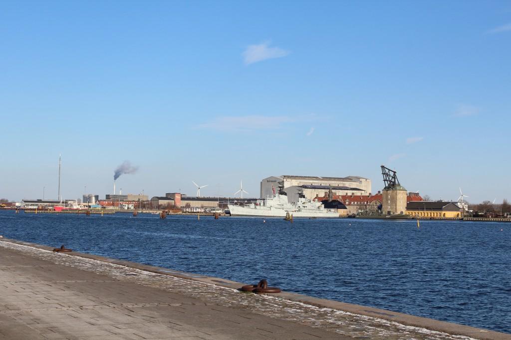 Copenhagen Inner Harbour. View to Naval Base Holmen with museum ship Peder Skram built 1965 and mastekranen built 1751.