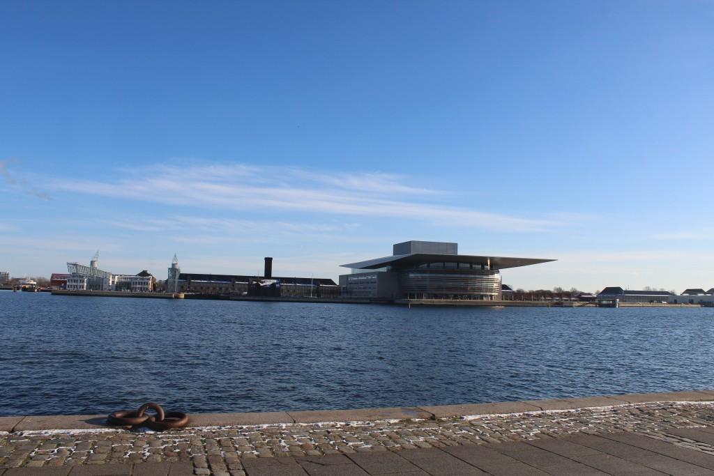 Copenhagen Inner Harbor. View in direction south to at left former naval Shipyard on Dockøen