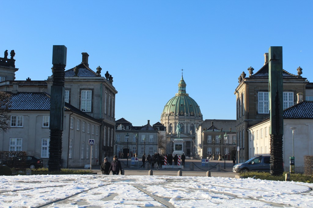 Amalienborg Castle, Esquerian statue of king Frederik 5, and marble Church (Frederis Church) with 60 m high dome. Phoot in direction north by Erik K Abrahamsen