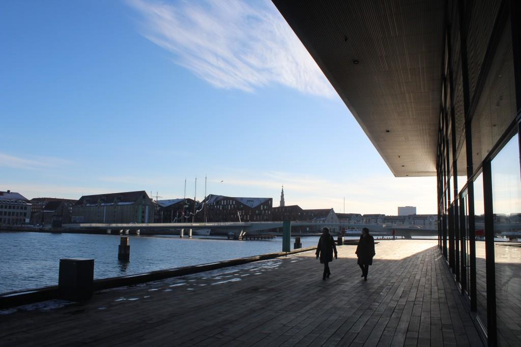 Copenhagen Inner habour. View in direction west fra new Royal Theater to new bike- and walk bridge between Nyhavn and Christianshavn. Phoot 5. febrauary 2018 by erik K Abrahamsen.