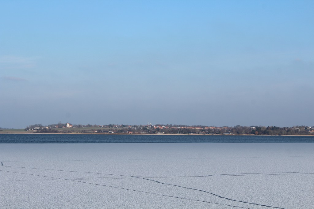 View from Nature Center Auderød Harbor in direction east to Arresø lake and Ramløse Village opposite the lake. Phoot 9. february 2018 by Erik K Abrahamsen.