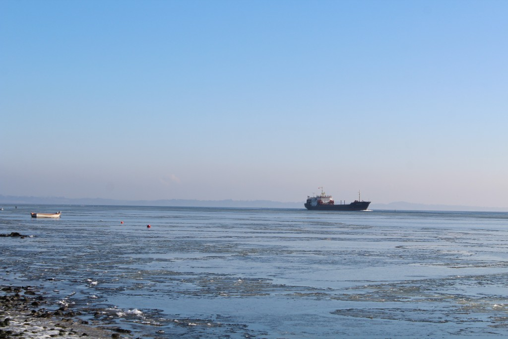 Cargo ship sails through Roskilde Fjord from east to west. Photo 14. february 2018 by Erik K Abrahamsen.