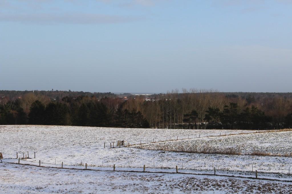 Udsigt fra Syvhøje mod Asserbo, Tisvilde Hegn og Kattegat helt ude i horisonten. Foto i retning nord-øst den 16. januar 2018 kl ca 9 af Erik K Abrahamsen