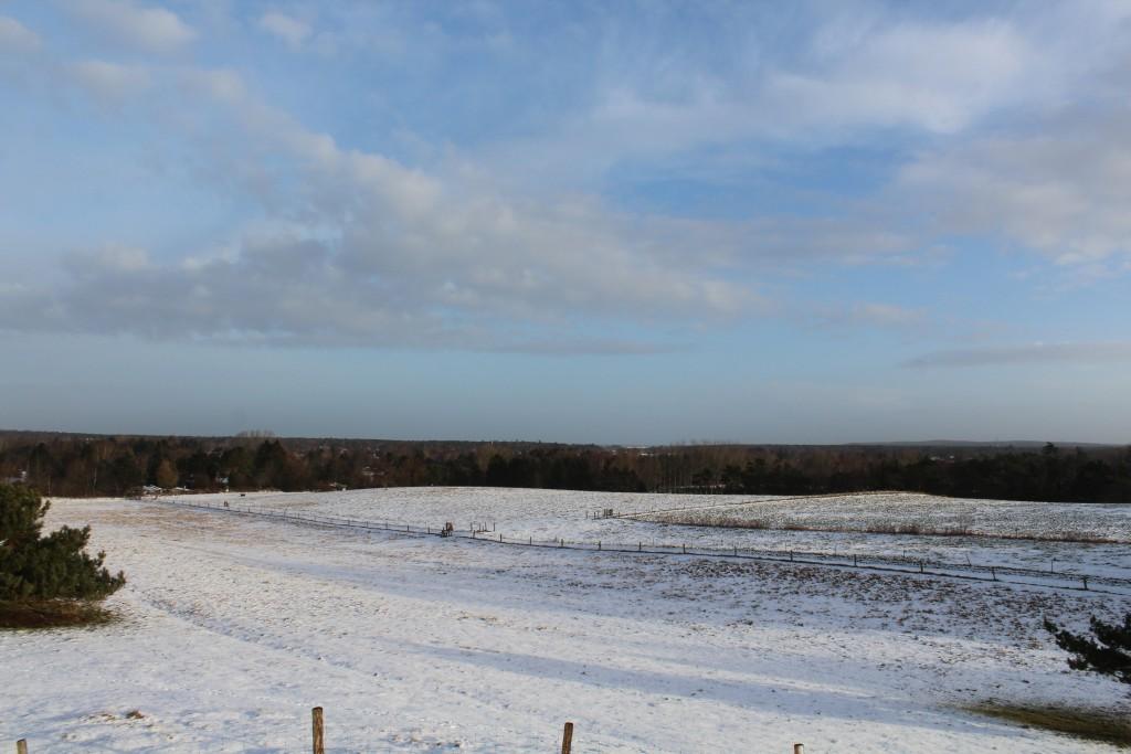 Panorama vieu from Syvhøje bronze alder gravhøje mod Asserbo, Tisvilde Hegn og Kattegat helt ude i horisonten.