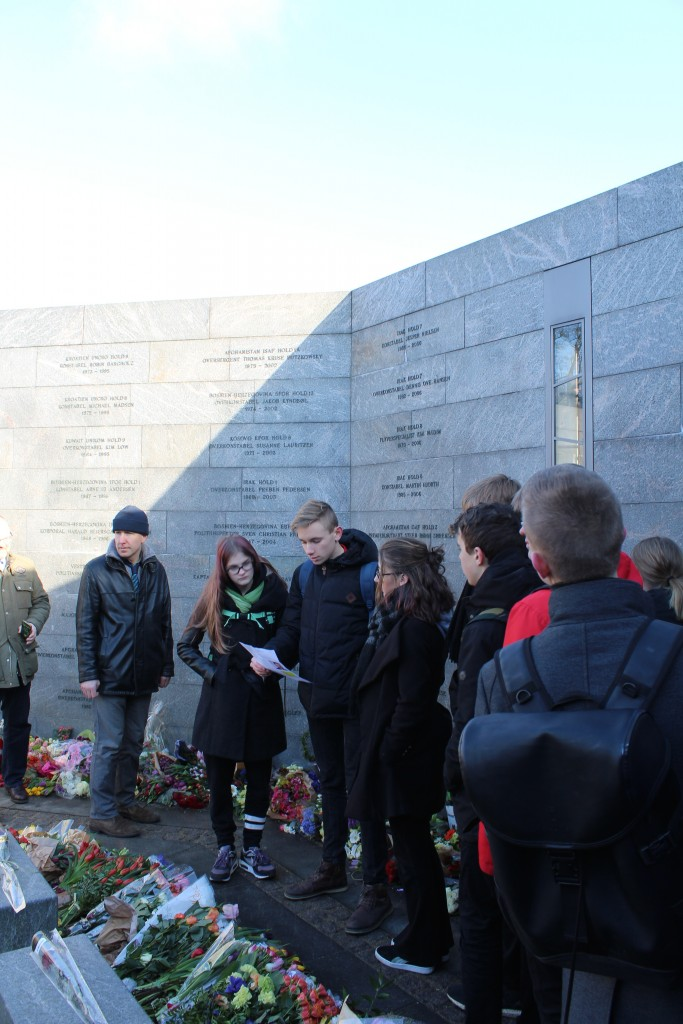 National Monument of Denmark Inernatinal Missions since 1948. A student read text of a
