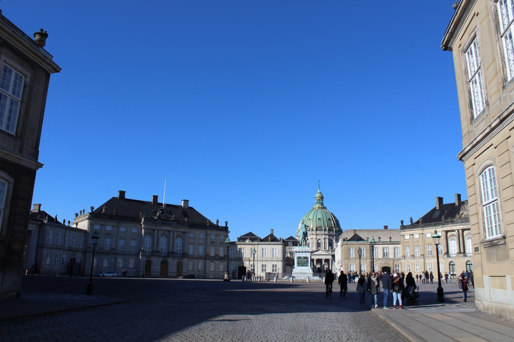 Amalienborg royal Palaces built 1751-60. Photo in direction to equestrian state of King Frederik 5 by sculptor Saly 1770. Photo 22. february 2018 by Erik K Abrahamsen.