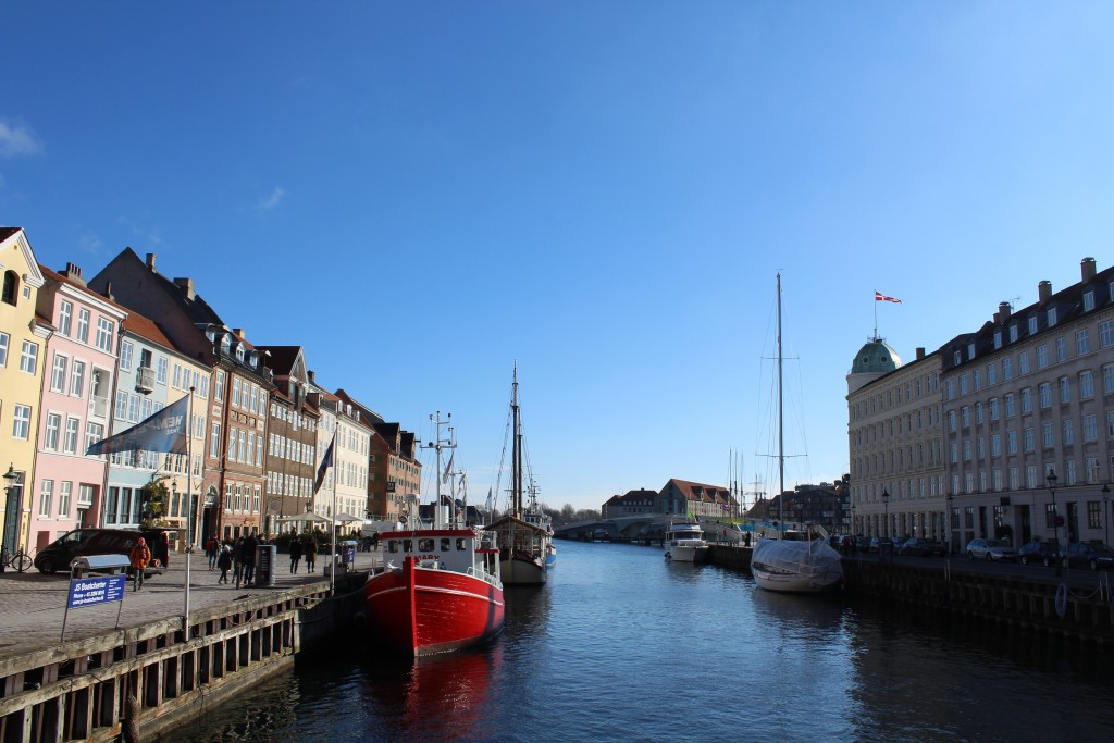 Copenhagen Inner harbour. Nyhavn Canal. View to new 180 m long walk-and bike slide bridge connecting Nyhavn and Christianhavn. View in direction south 22. february 2018 by erik K abrahamsen.