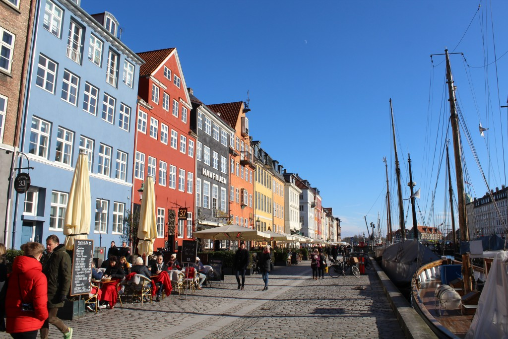 Nyhavn Sunny Side. View to old store houses for tea close to wharf. Phot in direction south 22. february 2018 by Erik K Abrahamsen.