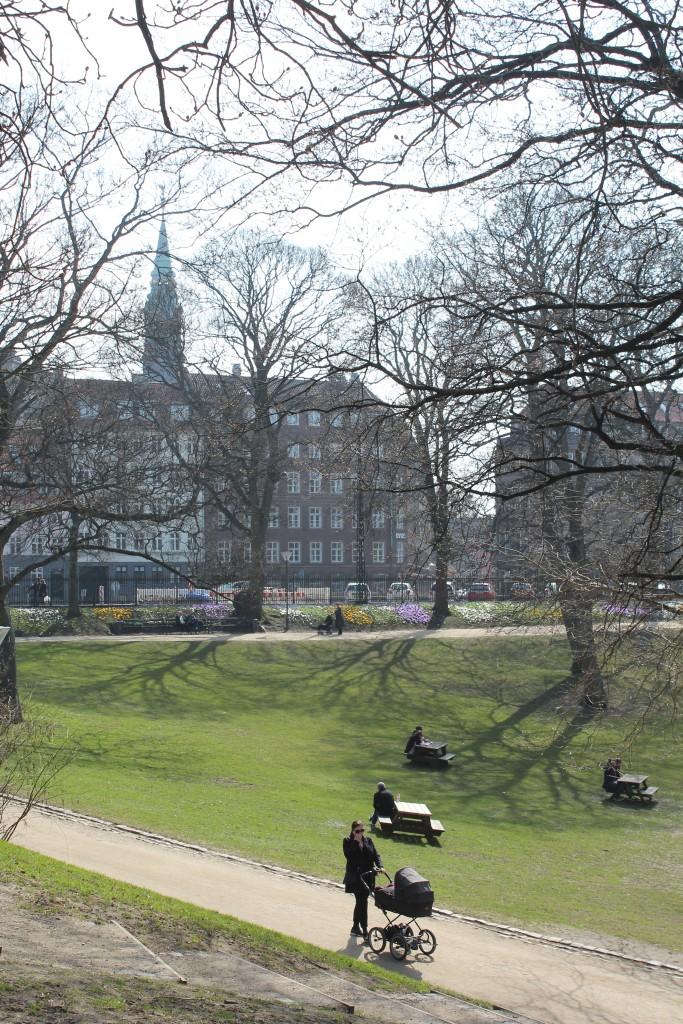 H.V. ÅØrstedparken. View to Latin Quatrer in old Copenhagen with spire of Sct Petri Chirch built a rouen 1400. Photo 9. april 2018 by Erik K Abrahamsen.