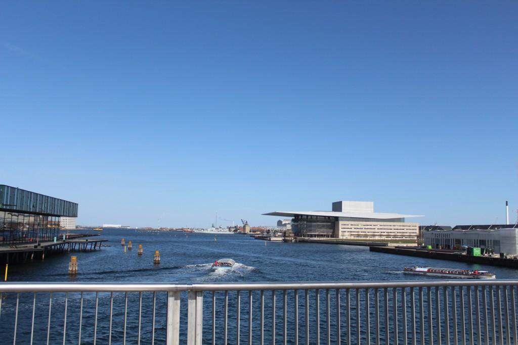 View from new 180 m lange walk-and bike slide bridge between Nyhavn and ordatlantens Bryhgge on Christianhavn.