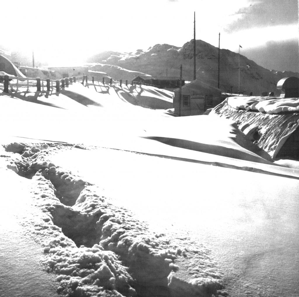 Vinter i Flådestation Grønnedal. Foto 1961.