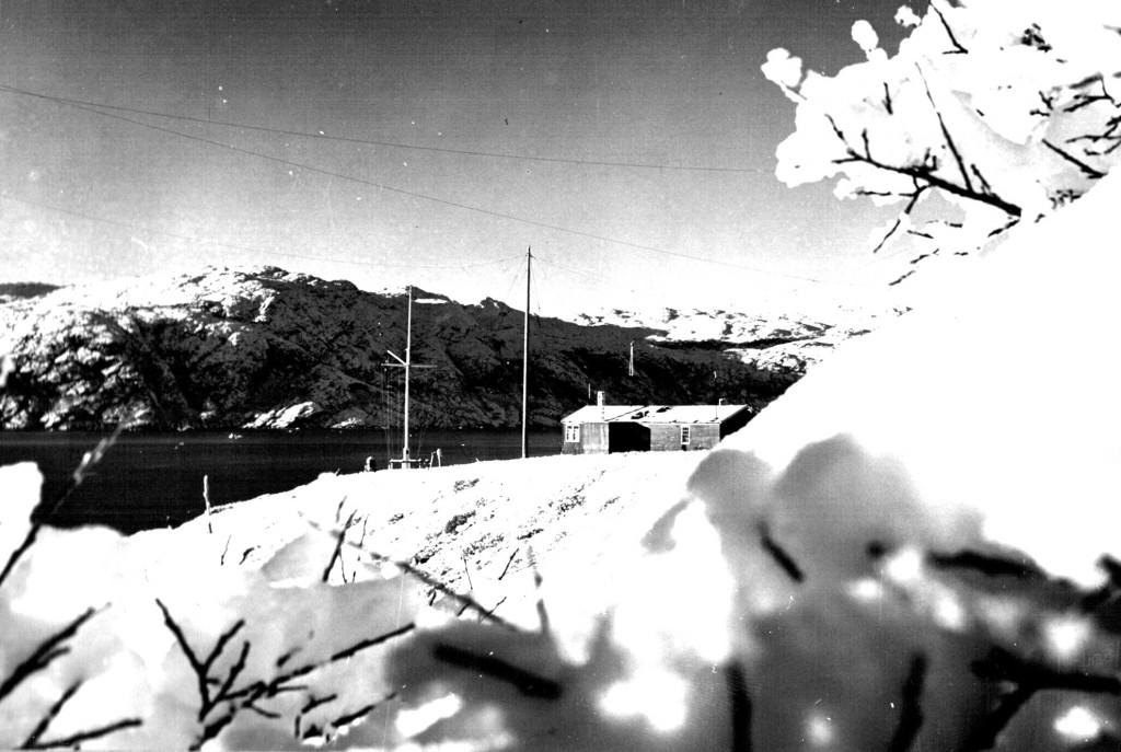 Udsigt mod Flagpladsen Flådestation Grønnedal. Foto 1961