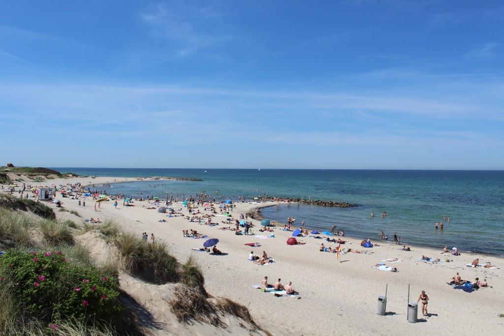 Liseleje Beach. View in direction west to 2 breakwaters, Phoot 2. june 2018 by erik k abrahasme